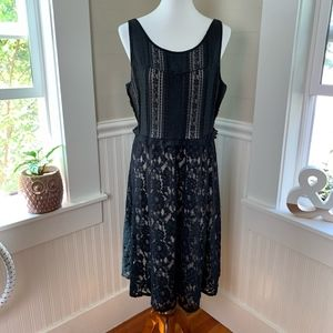 Lane Bryant Lace Overlay Black Sleeveless Dress